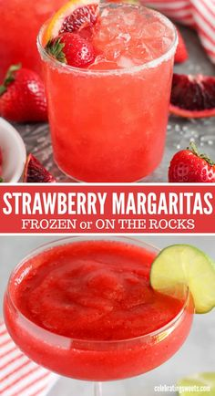 May 2020 - These cold and refreshing Strawberry Margaritas are made with real strawberries and served frozen or on the rocks. Fruity Alcohol Drinks, Alcohol Drink Recipes, Yummy Drinks, Alcoholic Beverages, Fruity Mixed Drinks, Liquor Drinks, Punch Recipes, Strawberry Margarita Recipe On The Rocks, Strawberry Drinks