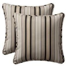 @Overstock - Set includes: Two decorative pillows    Color: Black/beige    Pattern: Stripehttp://www.overstock.com/Home-Garden/Pillow-Perfect-Outdoor-Black-Beige-Stripe-Toss-Pillows-Set-of-2/6308777/product.html?CID=214117 $45.10