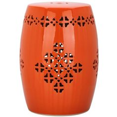 Safavieh Quatrefoil Garden Stool In Orange ($132) ❤ liked on Polyvore featuring home, outdoors, patio furniture, outdoor stools, accent tables, safavieh outdoor furniture, ceramic garden stool, orange garden stool, orange patio furniture and safavieh