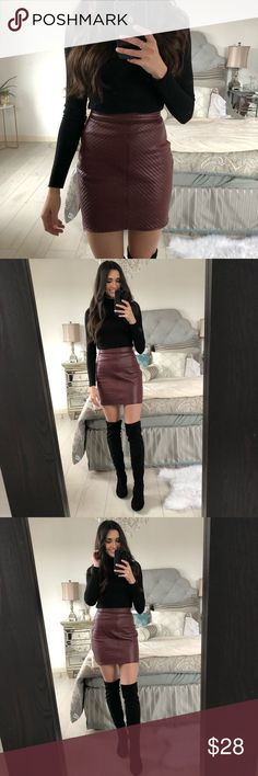 Faux Leather Burgundy Mini Skirt Perfect if you want to give off a trendy vibe! Super comfortable and looks great with neutrals! Missguided Skirts Mini