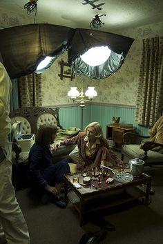 "Cate Blanchett and Rooney Mara filming ""Carol"" in Cincinnati, Ohio."