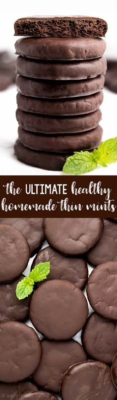 The ULTIMATE Healthy Homemade Thin Mint Cookies! These taste JUST like the original Girl Scout cookies! They're rich, chocolaty, minty, crunchy. how to make homemade thin mints. Healthy Cookie Recipes, Healthy Cake, Healthy Cookies, Healthy Sweets, Healthy Baking, Baking Recipes, Snack Recipes, Healthier Desserts, Healthy Snacks