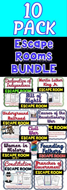 The Escape Rooms will take students on TEN separate secret missions around the classroom! The escape rooms have students decode facts about the Declaration of Independence, the US Constitution, Causes of the Revolutionary War, The Bill of Rights, Founding Fathers, Women in History, Branches of Government, MLK, Civil War and the Underground Railroad.