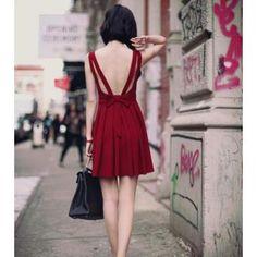 ➢ Compra Modaling Vestido con cuello en V de cintura alta sin espalda vestido sin mangas arco Partido plisado Rojo online | Linio México