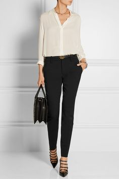 Gucci | Wool and silk-blend straight-leg pants and heels, and The Row blouse.