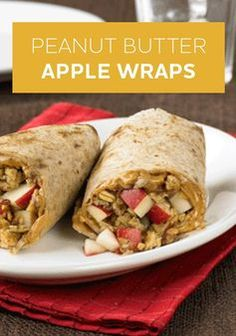 Peanut Butter Apple Wraps are a healthier comfort food to try this fall. Spread a tortilla with peanut butter and sprinkle with chopped apple and granola!