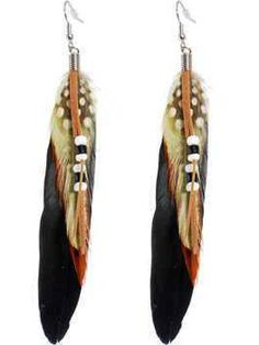 """""""Indian Princess"""" Feather Earrings"""