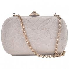 White Leather Clutch bag VERSACE (1.450 RON) ❤ liked on Polyvore featuring bags, handbags, clutches, white leather purse, chain purse, white leather handbags, versace handbags and genuine leather purse