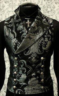 Cavalier Vest in stock in silver and black tapestry at www.Shrinestore.com.