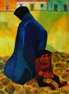 """Eduardo Kingman (1913-1998) - É um dos mais vigorosos artistas das artes visuais equatorianas do séc. XX.  """"Pareja"""", de 1979 – Nesta obra as poderosas mãos das suas personagens são uma temática que usa como símbolo inquietante da força da resistência. Kingman ficou conhecido por usar repetidamente esta simbologia."""
