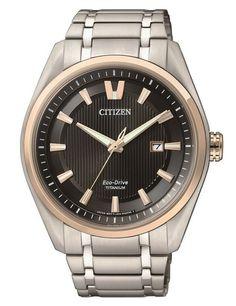 Montre Citizen Titane Eco-Drive AW1244-56E, boîtier et bracelet en titane, cadran bleu.
