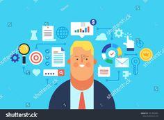 Management, Digital marketing, Analytics. Flat design modern vector illustration concept.
