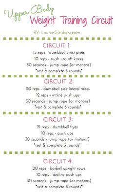 Upper Body Weight Training Circuit (