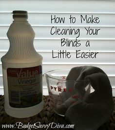How to make Cleaning your blinds a little easier. Just need vinegar and any cotton sock. I just did this, only instead of soaking the sock in vinegar I sprayed the blinds one section at a time and then wiped them down. This used less vinegar and also made it so I didn't have to stop and resoak as often.