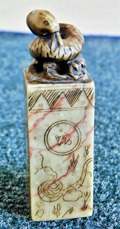 Antique Chinese Soapstone Snake Topped Calligraphy & Landscape Etched Seal