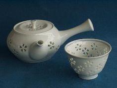 Tallado hecho a mano de la flor Kyuusu Tetera y taza de té Conjunto