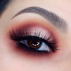 "warm-toned halo eye @_claudiayvette - champagne center, burgundy & orange shading & a smokey black lower lashline | makeup ""love sick"" by @meltcosmetics"
