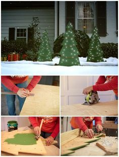 Rustic Christmas Outdoor Decoration Ideas That Are Worth To Try 30 – Outdoor Christmas Lights House Decorations Christmas Tree Painting, Wooden Christmas Trees, Rustic Christmas, Christmas Lights, Christmas Fun, Pallet Christmas, Christmas Outfits, Primitive Christmas, Christmas Design