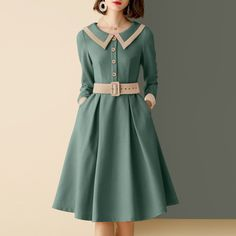 Dresses With Sleeves Retro Outfits, Vintage Outfits, Vintage Fashion, Classic Fashion, Casual Dresses For Women, Dresses For Work, Dresses With Sleeves, Classic Dresses, Elegant Dresses