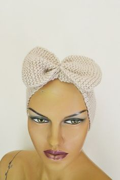 Beige ecru Hand Knitted Headband Ear Warmer Knit Bow by NesrinArt, $20.00