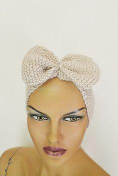 Beige ecru Hand Knitted Headband Ear Warmer Knit Bow by NesrinArt, $20.00