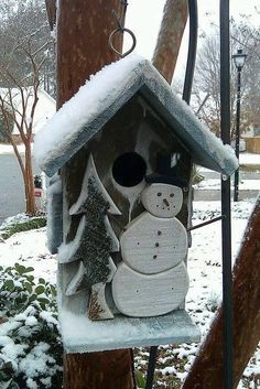 cute snowy birdhouse