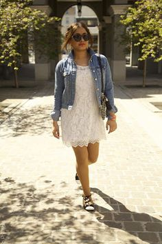4bf544542 white lace dress with denim jacket lovely outfit...would wear with some  chucks