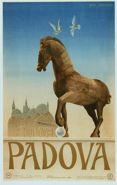 1949 Padua, Italy vintage travel poster / horse, doves