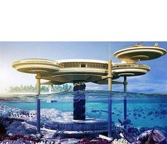 """Another innovation came to Dubai. This time Deep Ocean Technology designed Water Discus Hotel that will be constructed in Dubai shortly. """"Water Discus Hotels comprise two discs - Elite Hotels, Luxury Hotels, Luxury Cabin, Luxury Living, Gaia, Parks, Fauna Marina, Hotel Safe, Dubai Hotel"""