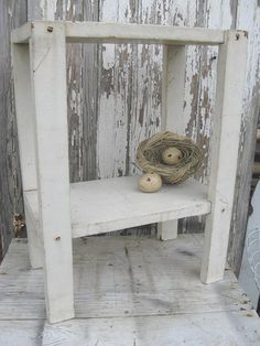 Vintage chippy white stand by oldetymemarketplace on Etsy, $39.95