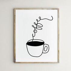 11 Coffee Station Decor Ideas You'll Love - Decor Hint Coffee Artwork, Coffee Wall Art, Coffee Painting, Coffee Drawing, Wall Drawing, Coffee Design, Kitchen Wall Art, Kitchen Art Prints, Hand Illustration