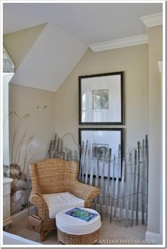 "Another example of a beach fence indoors. Looks like it came from the beach!  This one's a ""look alike"" and mounted on the wall:  http://www.completely-coastal.com/2011/07/photo-wall-collage-on-beach-dune-fence.html"