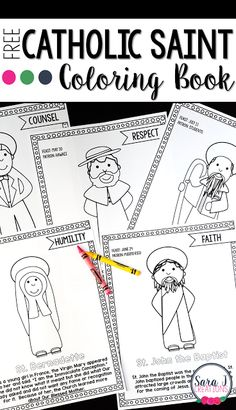Saint Coloring Book for All Saints Day   As many classrooms are preparing to celebrate Halloween tomorrow (on a Monday?!?) many Catholic classrooms are preparing to celebrate All Saints' Day instead. Many students will dress as their favorite Saint and share what they have learned about that Saint. I have a coloring book freebie that would work perfect this week - or anytime really in a Catholic classroom.   Grab your Catholic Saint FREE Coloring Book Now!  All Saints Day Catholic coloring…