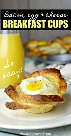 Muffin Tin Breakfast cups .. so easy to make and always a win for a quick breakfast for the kids before everyone runs off for their day! Bacon, egg and cheese make this a breakfast recipe favorite!