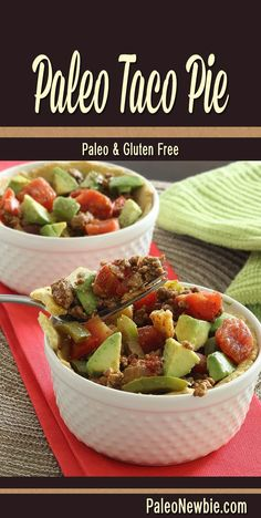 Easy taco pie recipe with a crumbly crust, hearty meat, spiced-up seasonings and fresh veggies. #paleo #glutenfree