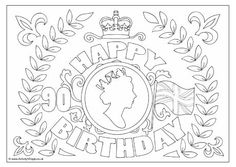 Queen's Birthday Colouring Page 2 Queens Birthday Party, Queen 90th Birthday, 90th Birthday Parties, Birthday Celebration, Birthday Badge, Crafts To Do, Crafts For Kids, Arts And Crafts, Royal Cakes