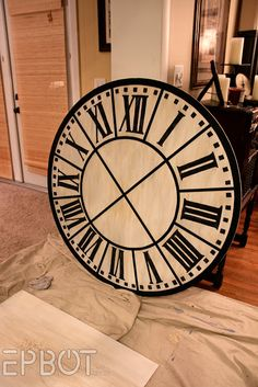 Wall Clock What do you think of the colour? Wall Clock Time Spent With Family - Clock Decor DIY How To Make a Giant Wall Clock Recycled Wood Wall Clock - Cool Clocks, Black Wall Clock, Large Wall Clock, Clock, Restoration Hardware, Wall, Diy Clock Wall, Cool Walls, Wall Clock