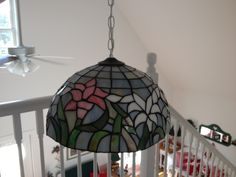 Hanging Tiffany Lamp in Rosee's Garage Sale in Trevor , WI for . Beautiful colors - gives off a warm light