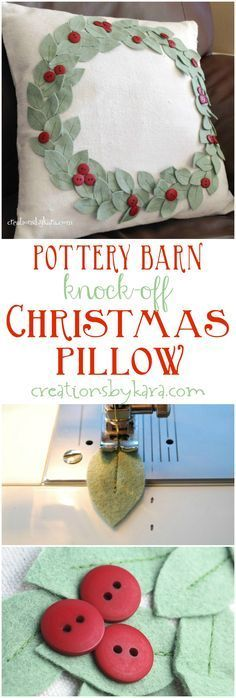 You can make this Pottery Barn Knock-Off Christmas pillow in any color to match your Christmas decor. Such a fun Christmas project!