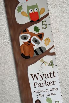 my very talented friend Christina's growth chart!!! Canvas Growth Chart Custom Forest Friends by SweetDreamMurals, $75.00