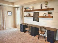 Diy Office Desk, Guest Room Office, Home Office Space, Home Office Design, Home Office Decor, Home Decor, Office Room Ideas, Diy Desk, Ikea Home Office
