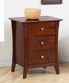 "Vermont Chestnut Three-drawer Nightstand. Cherry finish, darker than pictured per reviews, wood product. Great reviews out of 355. $150 - 24""h x 20.5""w x16d"