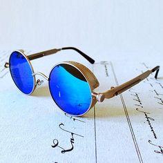 Sunglasses, Edgy, Steampunk Retro Silver Round Blue Mirrored Sunglasses…Mens Fashion, Women Fashion, Fashion Accessories