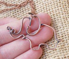 Elephant Necklace.Copper. Oxidized. Wire Jewelry.