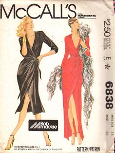 McCalls 6838 1970s Hollywood Designer Bob Mackie Misses Front Wrap Evening DRESS Pattern for  Knits womens vintage sewing pattern by mbchills
