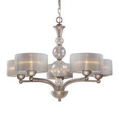 Alexis 5-Light Chandelier. With a bold, metropolitan style, the Alexis collection exudes glamour and sophistication. Blown crackled glass spheres are highlighted by a soft light that passes through the translucent silver shades, while an Antique Silver finished frame enhances its graceful allure.