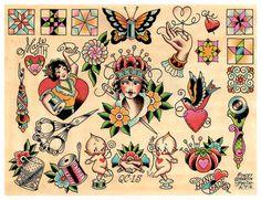 Vintage Steppung & nähen, Crafty Crafter, Tattoo Flash Print