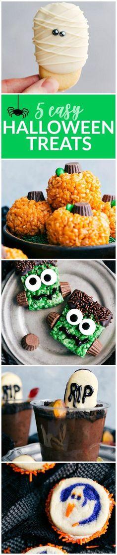 5 super easy Halloween treats -- mummy cookies, graveyard pudding cups, Frankenstein kripsies, pumpkin krispies, and double-sided Halloween sandwich cookies via chelseasmessyapron.com #Halloween