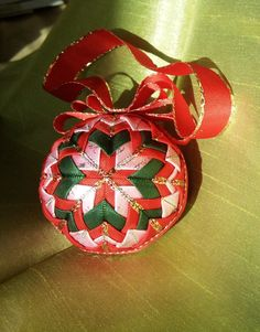Quilted Christmas Ornament BallRed pink and green by freyacz,