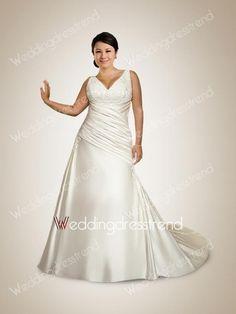 Awesome V-neck Beaded Embroidery Ruffled Plus Size Wedding Dress